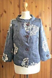 Swing-Cape-Jacket-8-10UK-Pale-Blue-Grey-Brocade-Jackie-O-Coat-12-Mother-of-Bride