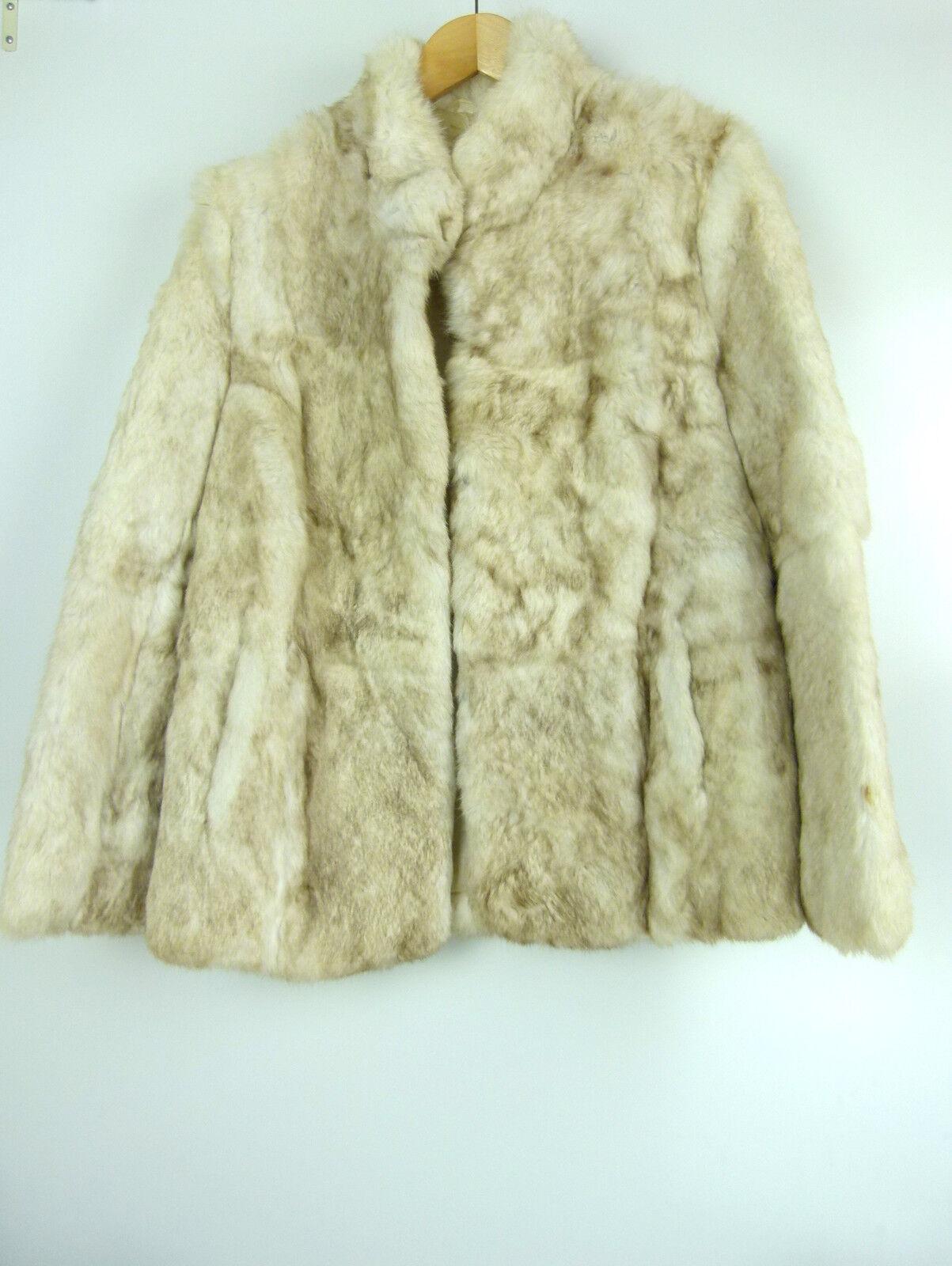 VINTAGE Fur coat Sz 12 Cream w brown tinge