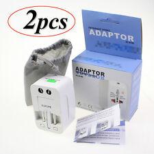 2×Worldwide AC Universal Travel Power Plug Charger Adapter Converter AU/UK/US/EU