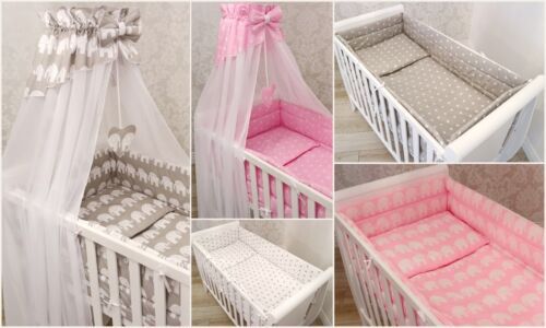 10p BABY BEDDING SET//BUMPER//CANOPY//HOLDER//DUVET//CANOPY for CRIB COT or COT BED