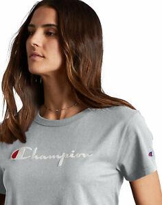 Champion-Life-T-Shirt-Women-039-s-Original-Tee-Flocked-Vintage-Script-Logo-Short