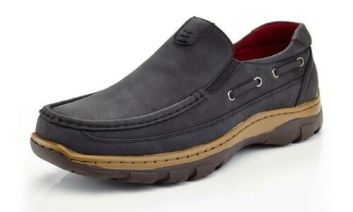 NIB by SOLO Men/'s Fred Casual Slip On Faux Leather Black Boat Shoes