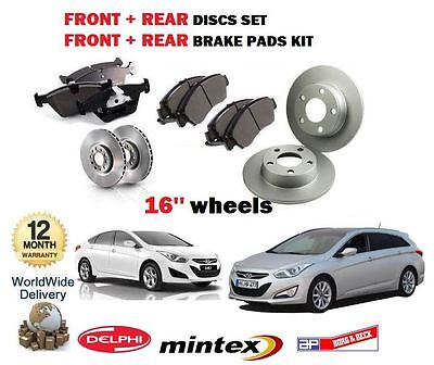 FOR HYUNDAI i40 16/'/' WHEEL 1.6 1.7 CRDi 2011-/> FRONT BRAKE DISCS SET PADS KIT