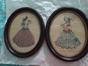 Antique-WALNUT-PICTURE-FRAMES-w-NEEDLEPOINT-VICTORIAN-LADIES