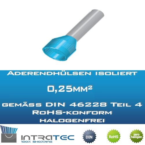 0mm 0,25mm² según DIN Virolas aislados 100-500stk hülsengröße 6,0mm-8