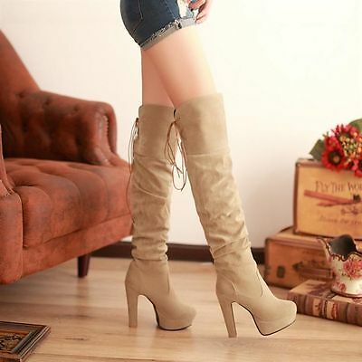 WOMEN LACE UP FSHION HIGH HEEL PLATFORM OVER THE KNEE HIGH THIGH BOOTS PLUS SIZE