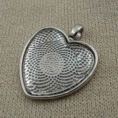 **3Sets Antiqued Silver Heart Bezel w/Glass Tile Cabochon-pendant kit Hot L0018