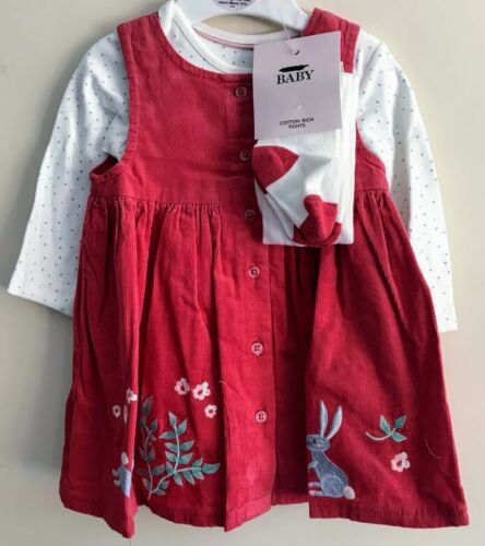 BABY GIRLS EX M/&S 3 PIECE PRINTED LONG SLEEVE BODYSUIT TIGHTS /& DETAILED DRESS
