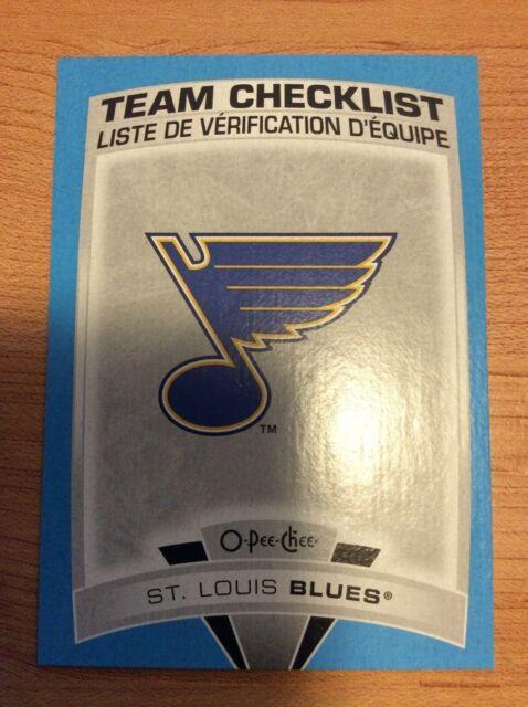 UD O-Pee-Chee 2019-2020  St. LOUIS BLUES CHECKLIST BLUE BORDER HOCKEY CARD #575