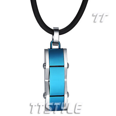 TTstyle 316L Stainless Steel Tag Pendant Necklace Engravable Black/Blue NEW