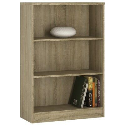 Crescita Medium Wide Bookcase in Oak, White, Canyon Living Display Cabinet Bed