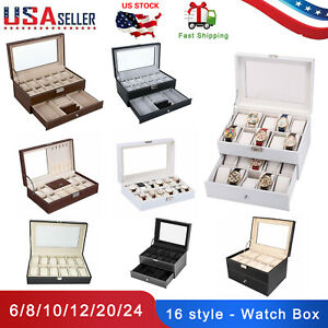 6-8-10-12-20-24-Slot-Watch-Box-Display-Case-Organizer-Glass-Jewelry-Storage-US