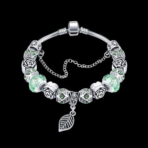 7 Color À faire soi-même Fashion 925 Argent Sterling Perles de verre feuille Femmes Bracelet pdhb 044