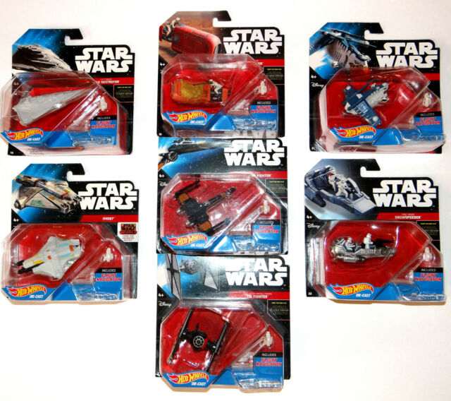 Disney Star Wars Hot Wheels 7pc Starship Collection with Flight Navigators Stand