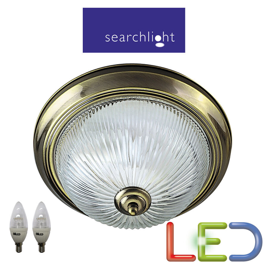 SEARCHLIGHT 4370 LED 2 X 5.9 WATT ANTIQUE BRASS IP44 BATHROOM LIGHT CEILING NEW