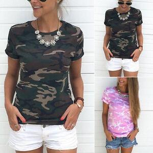 Camo-Fashion-Women-Ladies-Summer-Camouflage-Short-Sleeve-Tops-T-shirt-Blouse-BW