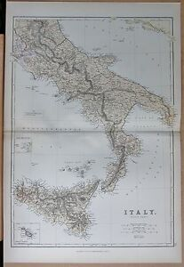 1882 LARGE ANTIQUE MAP ITALY SOUTH SICILY MALTA NAPLES BRINDISI