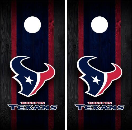 Houston Texans Cornhole Wrap Decal Stickers Vinyl Gameboard Skin Set JC082