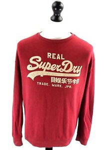 SUPERDRY-Mens-Jumper-Sweater-S-Small-Red-Cotton-amp-Polyester