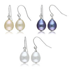 Silvertone Multi-colored Pearl 3-piece Earring Set 9-10 mm