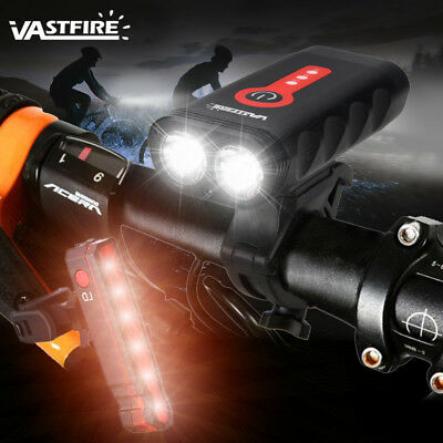 Vastfire USB Rechargeable Bicycle Bike Front Headlight Built-in Battery Lamp Set
