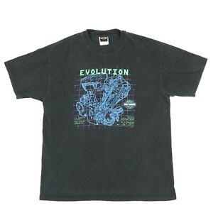 Vtg-Harley-Davidson-Evolution-T-Shirt-LARGE-Dallas-Texas-Biker-Faded-Black-USA