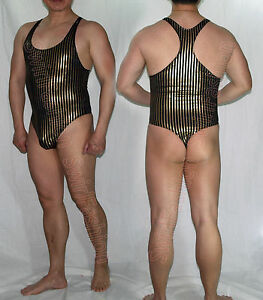 65e1bc4245 Image is loading K3284-Mens-Thong-Bodysuit-Stretch-Swimsuit-Tricot-Onesie-