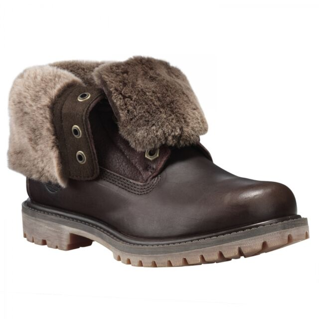 Women's Timberland AUTHENTICS SHEARLING FOLD DOWN BOOTS, Dark Brown Sizes 6.5 10