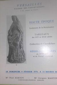 1975 Versailles Catálogo De Venta Alta Período Escultura Y Renacimientos
