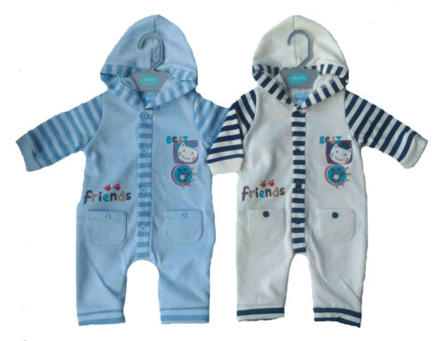 SIZE 0-9 MONTHS NEW BABY BOY/'S ROMPER WITH HOOD BEST FRIENDS EMBROIDERY OUTFIT