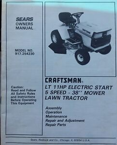 sears craftsman lt 11 4 36 riding lawn tractor mower owner parts rh ebay com Craftsman Lawn Mower Owners Manual Craftsman Mower Manual