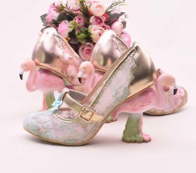Women/'s Lady Flamingo Heel Court Embroidery Lace Mesh Wedding  Bowknot Shoes E08