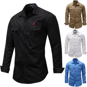 New-Men-039-s-Classic-Plain-Shirt-Long-Sleeve-Double-Pocket-Casual-Shirts-Sport-Top