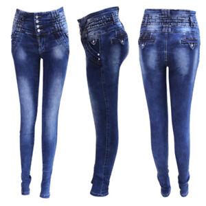 0aa5426bbe5a Detalles de Jeans Levanta Cola Baratos cintura alta / Vaqueros Push Up  Costilleros