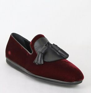 New-Salvatore-Ferragamo-Men-039-s-Finnegan-Dark-Red-Velvet-Tassel-Loafer-9-M-656327