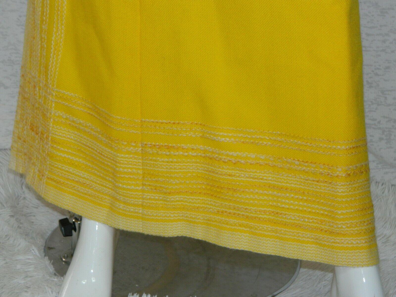 Vintage Arola Finland Skirt Yellow White Wool 70s… - image 4