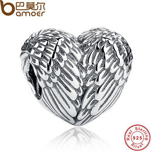 Retro-A-S925-Sterling-Silver-Heart-Eagles-wings-Charm-Fit-Bracelet-necklace