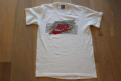 Vintage 80s Nike Blue Tag Grid Logo Tee Size Large White T shirt VTG Red Yellow   eBay