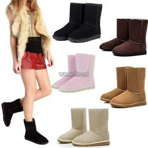 Fashion-Women-039-s-Winter-Warm-Fleece-Suede-Ankle-Mid-Calf-Boots-Shoes-Snow-Boots