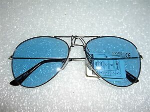 4d284830ea Image is loading CLASSIC-AVIATOR-SUNGLASSES-BLUE-COLOR-TINTED-LENS-SILVER-