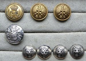 Antique-vintage-buttons-heraldry-military-old-lion-heads-8-in-total