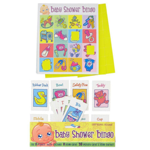 BABY SHOWER BINGO PARTY GAME Up to 8 Players Boy Girl Unisex