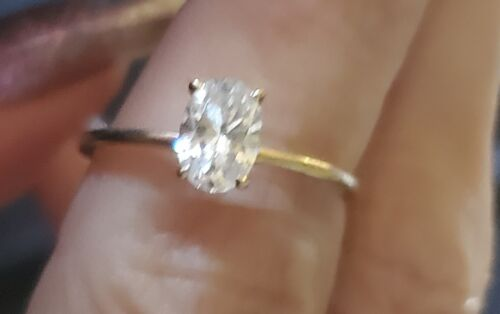 14k Gold Oval CZ Solitaire Ring, Size 7 - image 1