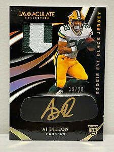 AJ A. J. Dillon 2020 Panini Immaculate RC Black GOLD /25 RPA ON CARD AUTO Patch