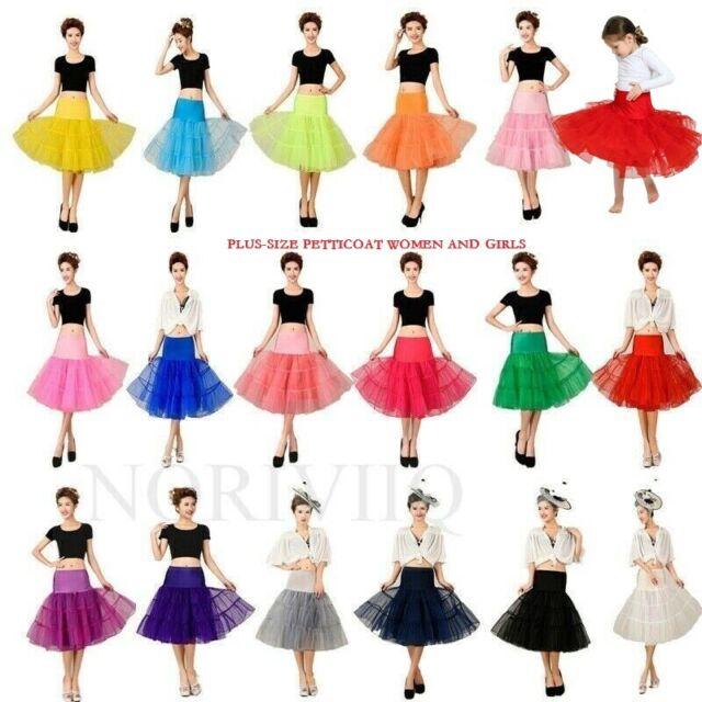 Girls 3 Layers Black Tutu Skirt S Swing Vintage Rock Roll Retro Style Midi Dress