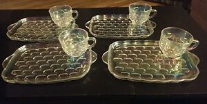 Vintage Federal Glass Company Iridescent Snack Tray Cup Set 8 Piece ...