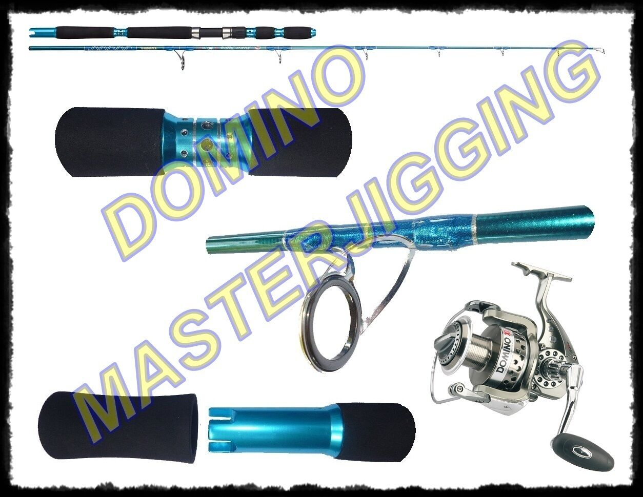 KIT CANNA MASTER JIGGING JIGGING JIGGING + MULINELLO DOMINO 5000 VERTICAL LIGHT 20/60lb CARBONIO a4c46a