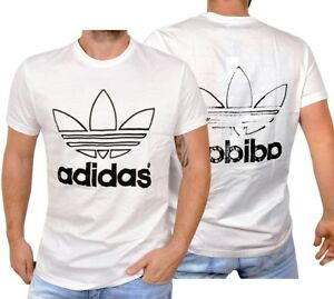 Adidas-Graphic-Dirty-Tee-Herren-Trefoil-Logo-T-Shirt-Men-Used-Optik-weiss-schwarz