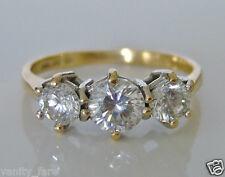 Beautiful 14ct Gold Diamonique Trilogy Ring Size L