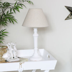 Image Is Loading White Wooden Bedside Table Lamp Beige Linen Shade